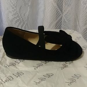 FIA- Black Suede Slip On W Strap and Bow